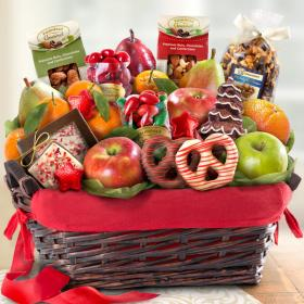 AA4048, Holiday Chocolate, Nuts and Fresh Fruit Gift Basket