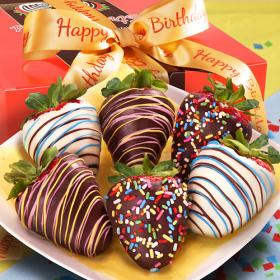 ACD1006, Happy Birthday Chocolate Covered Strawberries - 6 Berries with Birthday Ribbon
