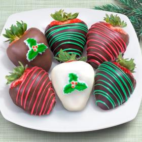 ACD1023, Merry Christmas Chocolate Covered Strawberries - 6 Berries