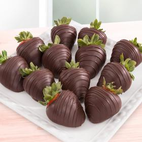 ACD2009, Dreamy Dark Chocolate Covered Strawberries - 12 Berries