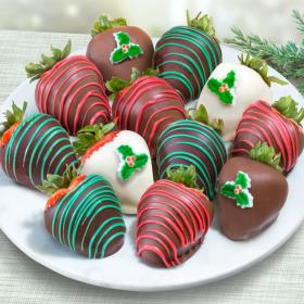 ACD2023, Merry Christmas Chocolate Covered Strawberries - 12 Berries