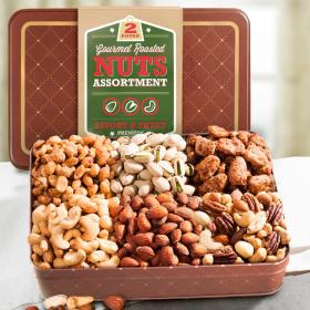 CY4400A, Gourmet Roasted 2 LB Nuts Assortment Gift Tin