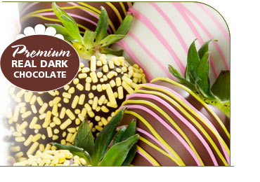 We hand-dip huge, sweet California-grown berries in REAL, premium dark chocolate and quality white chocolate making the highest quality chocolate covered strawberries available.