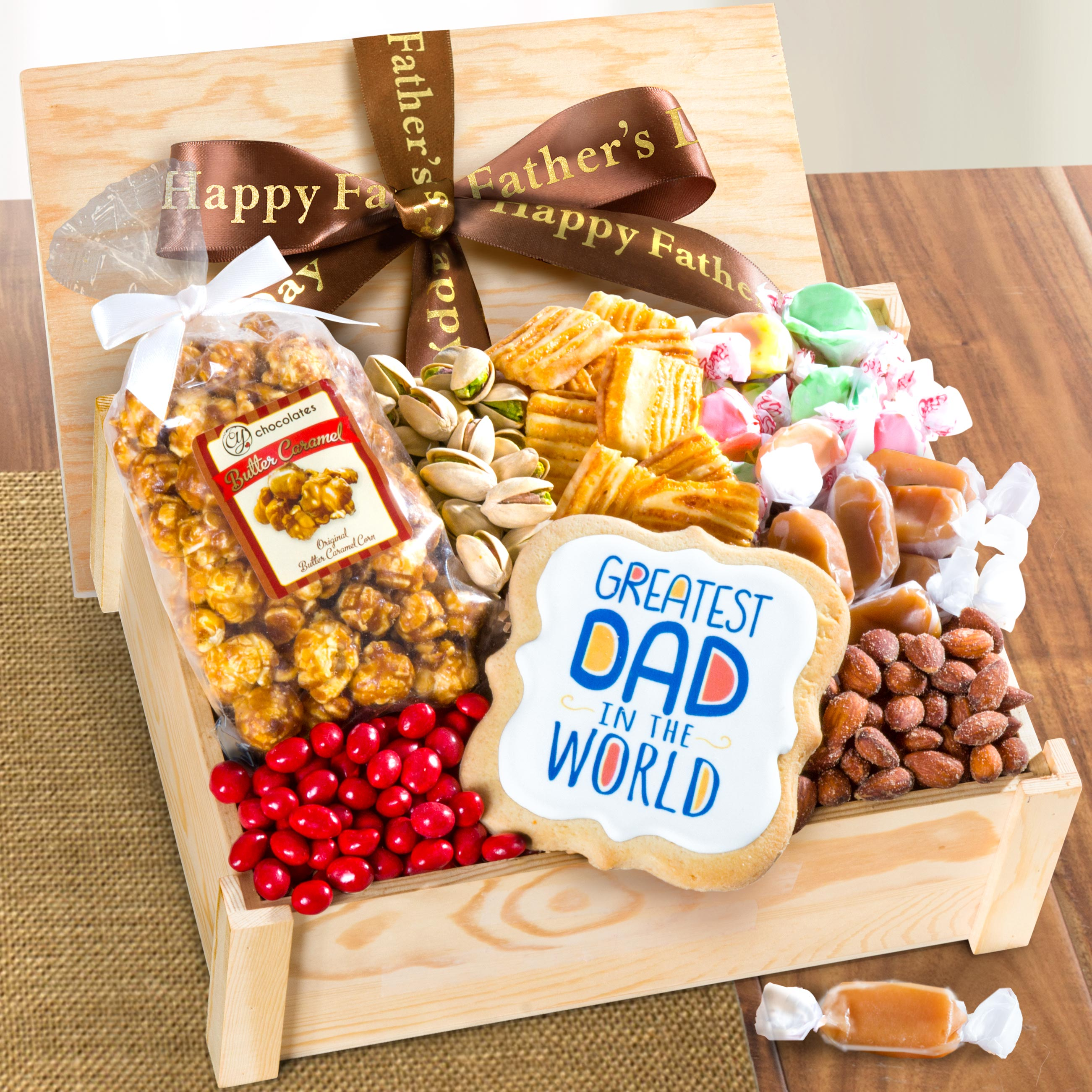Dad's Sweets & Snacks Gift Crate with Father's Day Ribbon