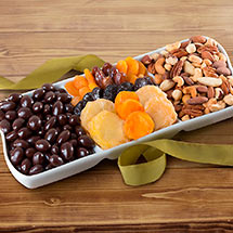 GC1008, Dried Fruit with Chocolate and Savory Nuts in Keepsake Ceramic Serving Tray