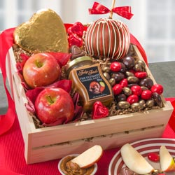 AA4073V, Apple of My Eye Caramel Apple and Chocolate Treats Valentines Gift Crate