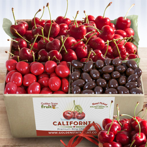 Fruit And Chocolate Gift Boxes : Bing cherries and chocolate gift box ab golden