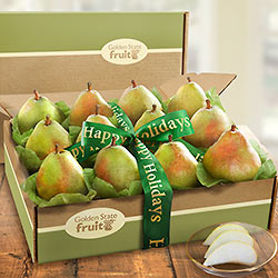 AB2007H, Happy Holidays Dozen Comice Pears Fruit Gift