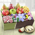 Spring Bouquet of Sweets and Fruit Deluxe Gift Box