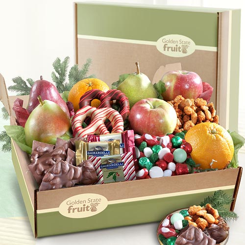 Fruit And Chocolate Gift Boxes : Deluxe holiday goodies and fruit gift box ab a