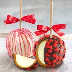 ACA1009V, Valentine's Day Delight Chocolate Covered Caramel Apples Duo