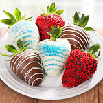 ACD1032, Red, White and Blue Chocolate Covered Strawberries - 6 Berries