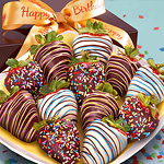 ACD2006, Happy Birthday Chocolate Covered Strawberries - 12 Berries with Birthday Ribbon