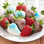 ACD2032, Red, White and Blue Chocolate Covered Strawberries - 12 Berries