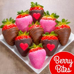 ACD3001, 9 Love Bites Valentine Chocolate Covered Strawberries (Fun Size)