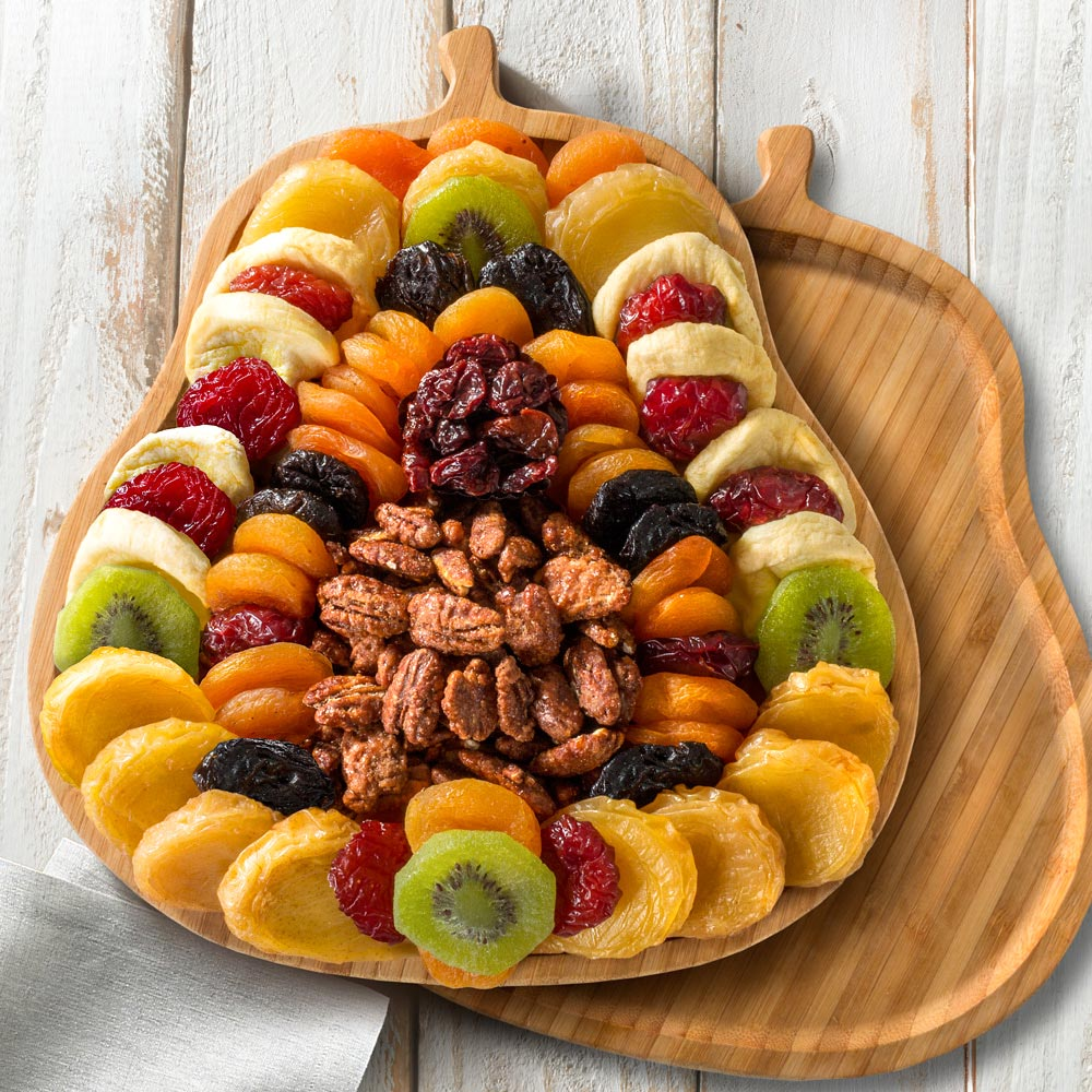 Dried Fruit and Butter Toffee Pecans in Pear Shape Bamboo Cutting Board