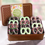 Spring Fling Real Chocolate Covered Decorated Pretzels in Keepsake Tin