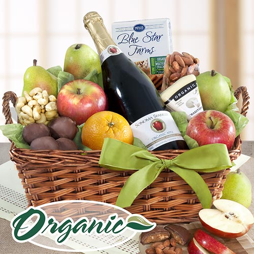 Organic Favorites Gift Basket Organic Napa Cider and Fruit