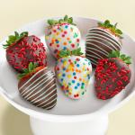 Happy Birthday Chocolate Dipped Strawberries - 6 Berries