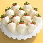 White Out Chocolate Dipped Strawberries - 12 Berries