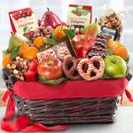 Holiday Chocolate, Nuts and Fresh Fruit Gift Basket