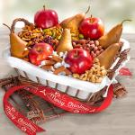 Red & Russet Harvest Fruit & Snack Hamper with Merry Christmas Ribbon