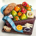 Happy Birthday Fresh Fruit, Cheese & Bread Gift Basket
