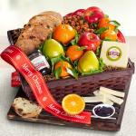 Merry Christmas Fresh Fruit, Cheese & Bread Gift Basket