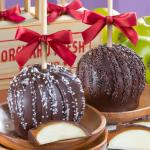 Dreamy Dark Chocolate Covered Caramel Apples Pair in a Wooden Gift Crate