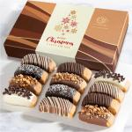 Christmas Holiday Classic Chocolate Dipped Biscotti Gift Box - 12 pc