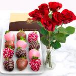 12 Chocolate Dipped Valentine Love Strawberries & 6 Fresh Red Roses