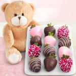 "12 Love Berries Chocolate Covered Strawberries with a 9"" Plush Bear"