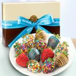 Happy Birthday Chocolate Dipped Strawberries - 12 Berries