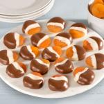 18 Chocolate Covered Dried Apricots Double Dipped in White Chocolate and Milk Chocolate
