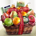 Congratulations Fruit Basket with Cheese and Nuts
