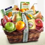 Happy Holidays Cheese and Nuts Classic Fruit Basket