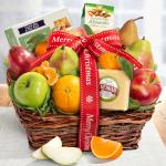 Merry Christmas Cheese and Nuts Classic Fruit Basket