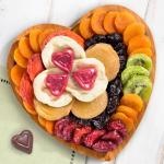 Dried Fruit and Chocolate on Heart Bamboo Serving Tray