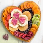 Dried Fruit and Chocolates on Heart Bamboo Serving Tray