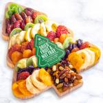Season's Greetings Dried Fruit and Nuts on Tree Shaped Bamboo Cutting Board