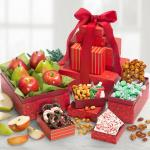 Festive Holiday Favorites Fruit and Sweets 5 Box Tower