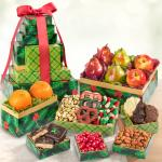 Holly Jolly Best Deluxe Fruit and Treats Holiday Tower