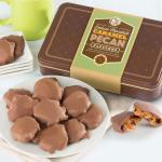 Chocolate Caramel Pecan Clusters in Gift Tin