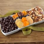 Dried Fruit with Chocolate and Savory Nuts in Keepsake Ceramic Serving Tray