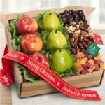Merry Christmas Organic Fresh Fruit, Sweets & Treats Gift Box
