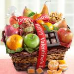 Happy Valentines Day Orchard Delight Fruit and Gourmet Basket