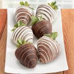 Dark, Milk and White Delight Chocolate Covered Strawberries - 6 Berries