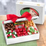 Christmas Chocolates and Candied Nuts in Wooden Photo Frame Box