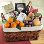 Grand Abundance Wine and Fruit Gift Basket