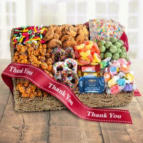 AA4087T, Thank You Chocolate, Candies and Crunch Gift Basket